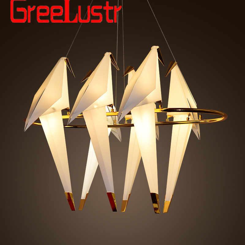 nordic loft led bird chandelier pendant lamp for living room lustre chandeliers indoor light fixture luminaires suspendus