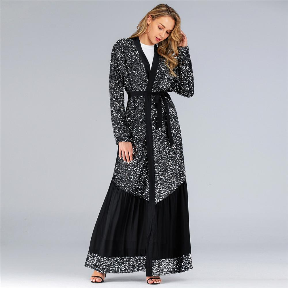 Eevning Party Shining Sequins Luxury Kaftan Kimono Abayas With Belt