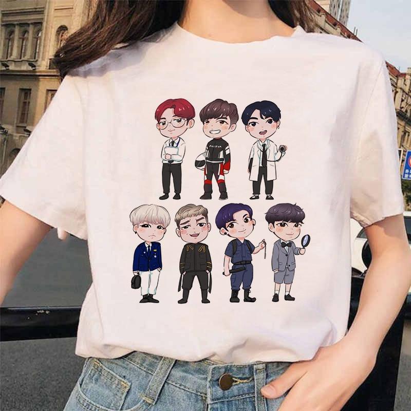 Summer 2020 New Women's Tee Cartoon Bulletproof Boys BTS Style DIY Doll Adorable Korean-style Casual Slim Fit Crew Neck T-shirt