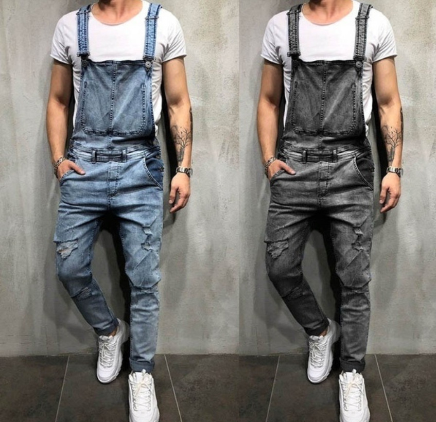 Casual Mens Light Blue Jeans Fashion Boys Suspenders Overalls Men Distressed Ripped Jeans Vintage Oversized Trousers Male XXL