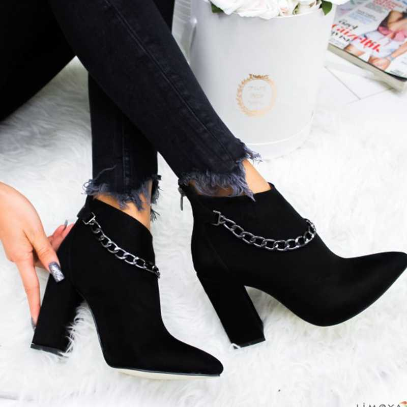 LITTHING  Women Shoes Winter Autumn Women Botas Shoes Casual Women High Heels Pumps Warm Ankle Boots Mujer Zapatos Size 35-43