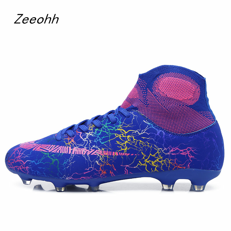 Football-Shoes Training-Boots Long-Spikes Outdoor High-Ankle Women Chuteira Mens Futebol title=