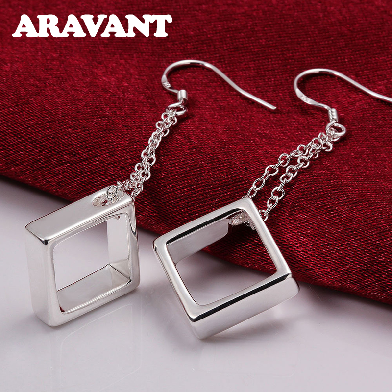 925 Jewelry Silver Color Square Long Chain Drop Earrings For Women Fashion Plated