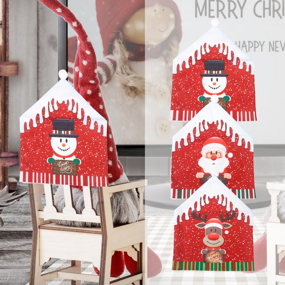 New Year Christmas Chairs Cover Cartoon Santa Claus Snowman Printed Non-woven Fabric Dinner Chair Back Covers Table Party Decor