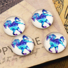 New Fashion 20pcs 12mm Blue Horse Handmade Photo Glass Caboc