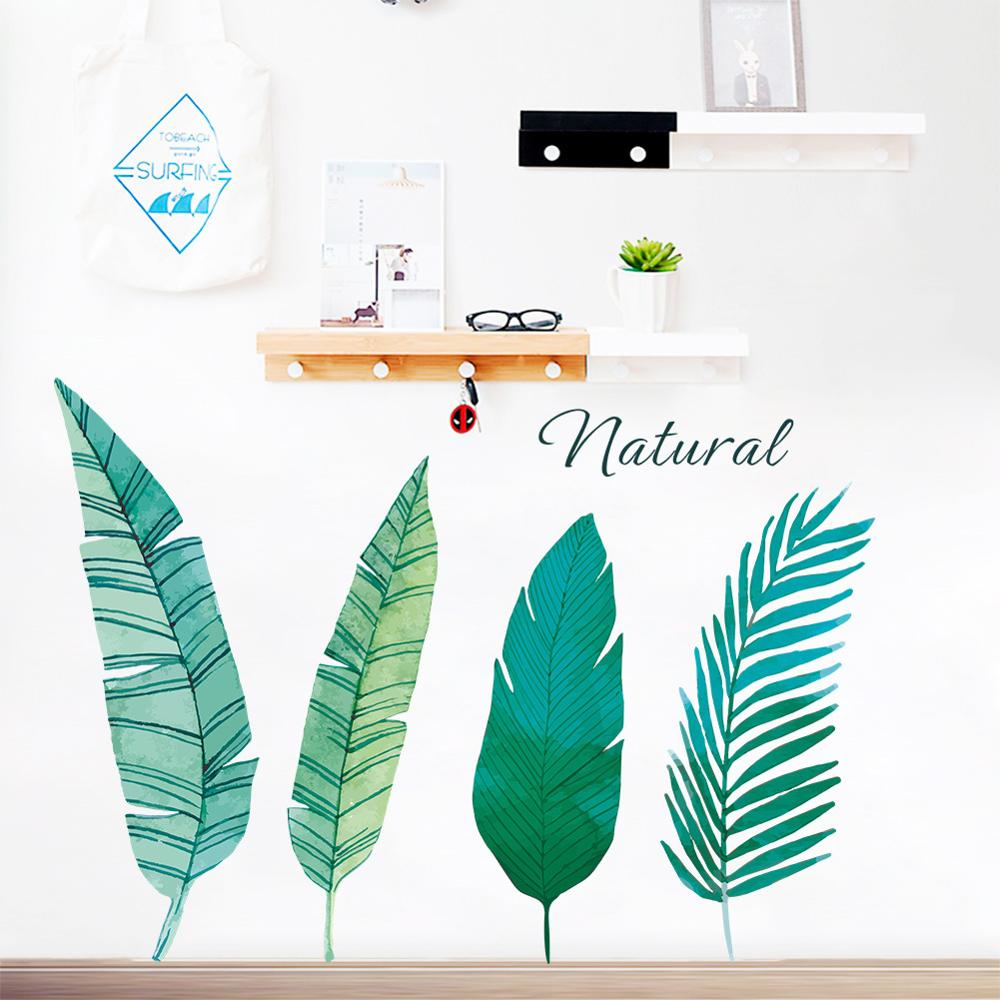 Nordic Style Green Leaves Wall Stickers Bedroom Living Room Wardrobe Decoration Art Mural Home Decor Stickers Plant Wallpaper
