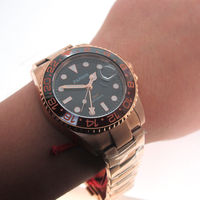 Parnis 40mm Gold Case Mechanical Automatic Men's Watches Sapphire Crystal Gold Stainless Steel Bracelet Calendar Men Watch 2019
