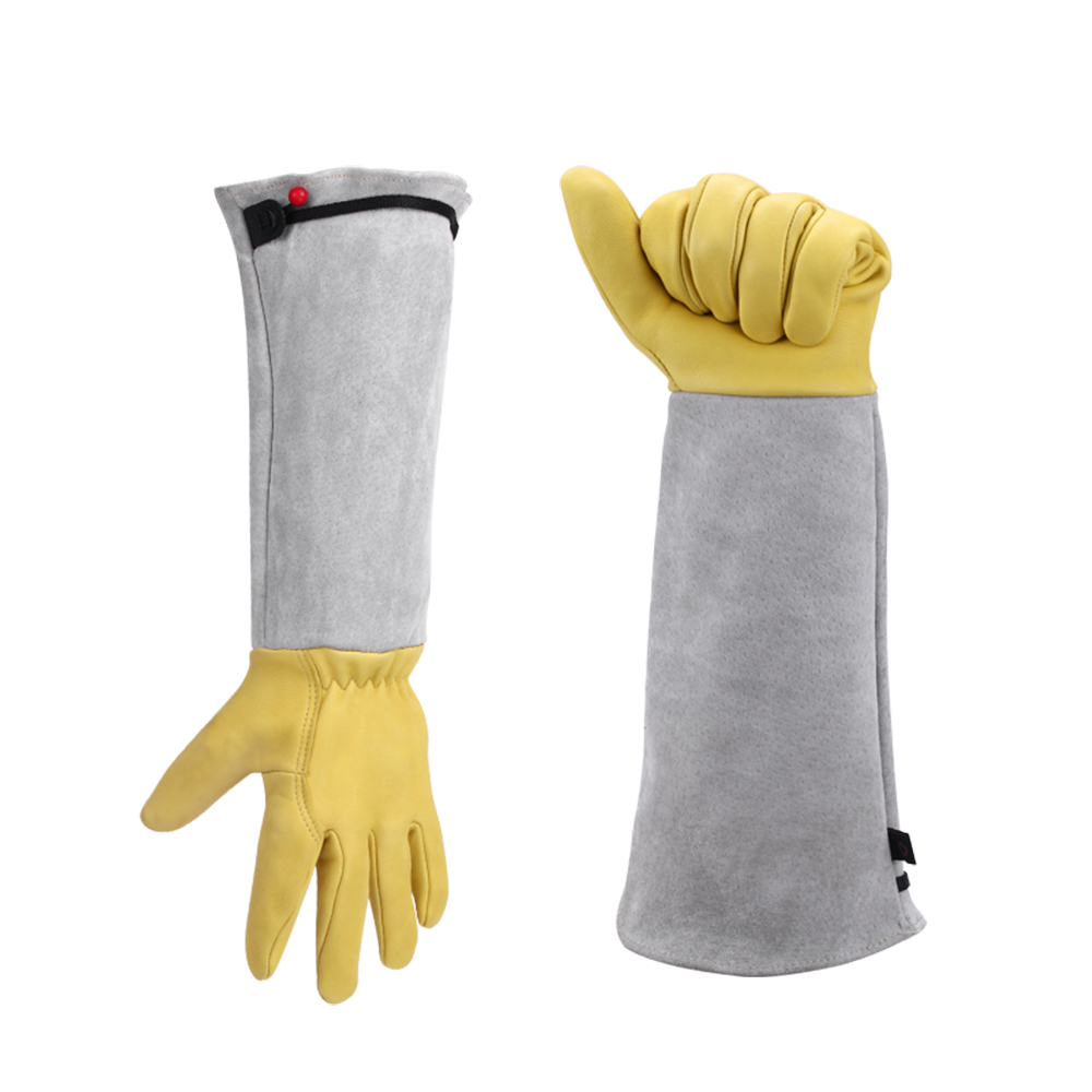 Gardening <font><b>Gloves</b></font> for Roses Pruning Working Protective Durable <font><b>Long</b></font> Sleeve Thorn Proof Flower Plant Work Goatskin Garden <font><b>Gloves</b></font> image