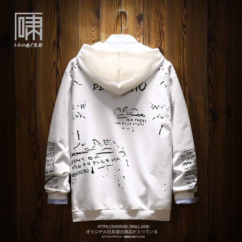 Sweat-shirts de bande dessinée hommes à manches longues col rond slim fit hoodies à capuche japonais élégant couple blanc automne survêtement vêtements - 2