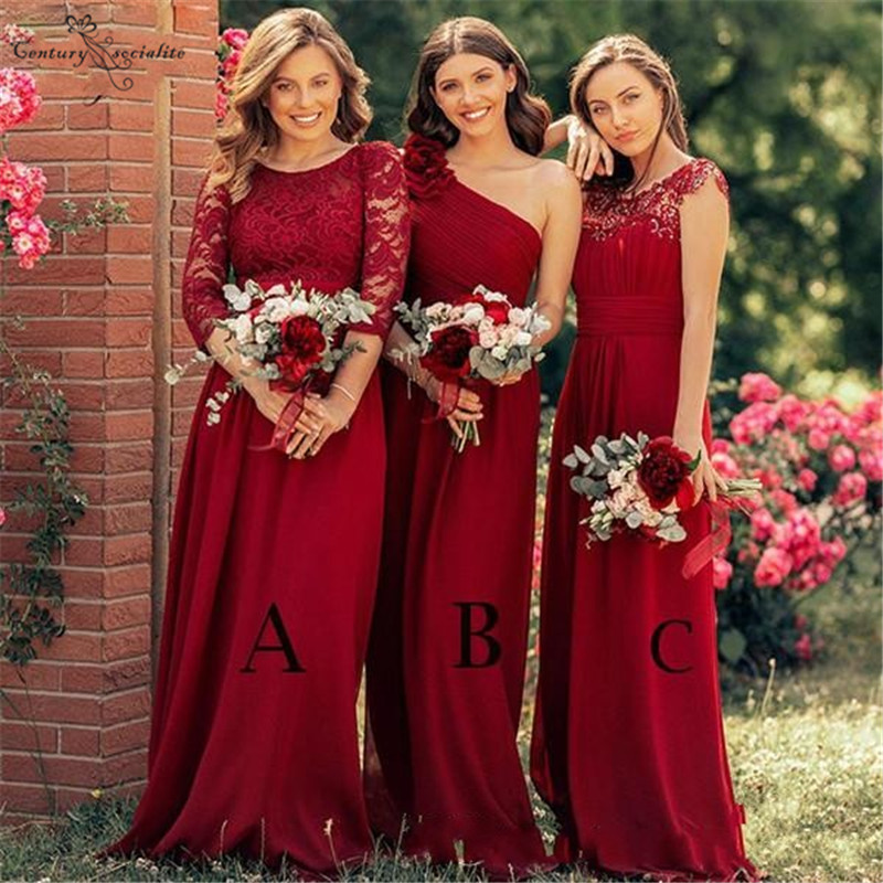 Simple Long   Bridesmaid     Dresses   Lace Chiffon Floor Length Plus Size Wedding Guest   Dresses   Maid Of Honor Gowns 2019 Cheap
