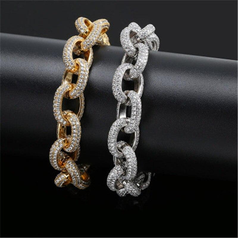 Glacé Bling 15MM de Large cubique zircon grande torsion chaîne Bracelet or argent pour hommes femmes Hip Hop bijoux