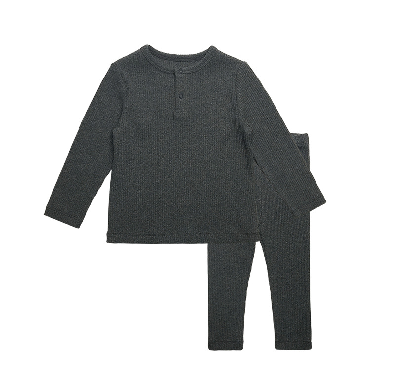 Soft Ribbed Toddler Girl Pajamas For Baby Boys Clothes Set Autumn Winter Children Outfits Long Sleeve Tops Pants 2 Pcs Kids Suit (25)