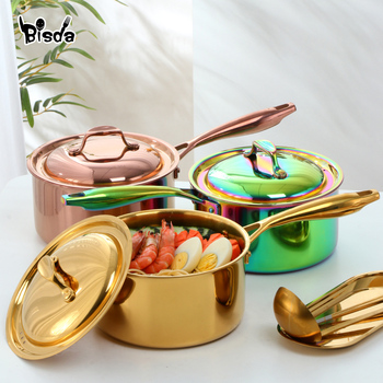 Stainless Steel Milk Pot Food Heating Cooking Pot 3layers Bottom Butter Chocolate Melted Pan Long handle Cheese Pot with Lid