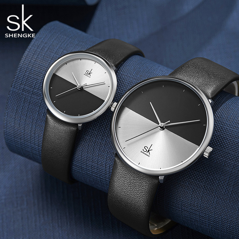 Shengke Leather Couple Watches For Lovers Luxury Quartz Female Male Half Leather Wrist Watches Christmas Birthday Gift #K9016