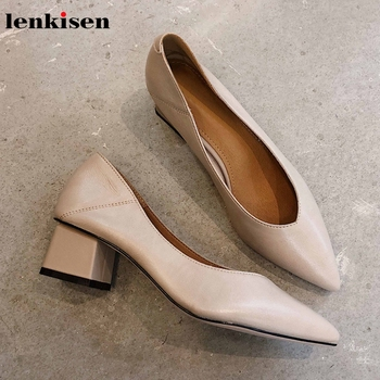 Lenkisen full grain leather sweet solid ladies shoes office lady classic pointed toe med heels slip on women spring pumps L30