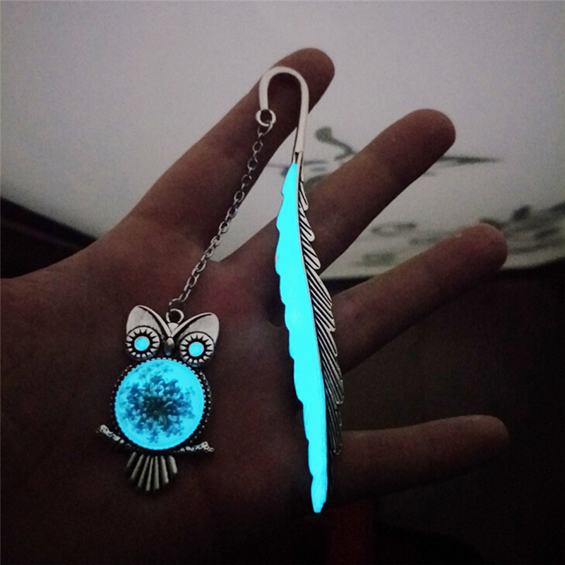 1Pcs Luminous Feather Shape Bookmarks Owl Bookmarks Creative Gift For Friends School Stationery Supplies