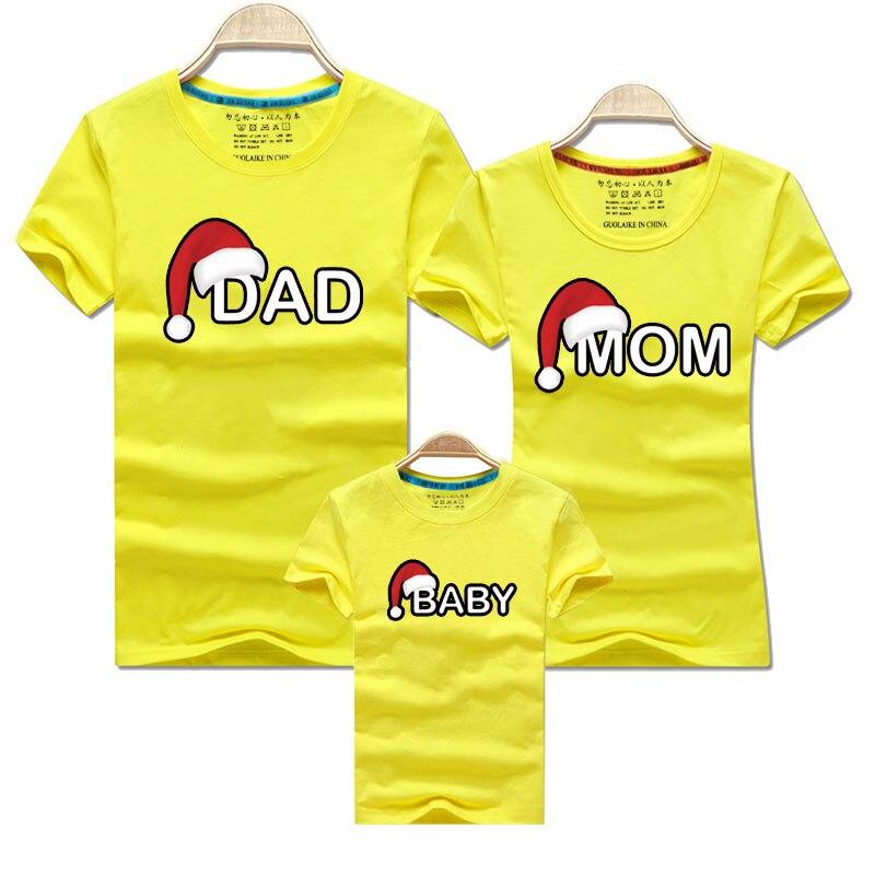 Рождественская футболка для папы, мамы и ребенка; одежда для всей семьи; Одинаковая одежда для мамы, дочки, папы и сына; рубашка для мамы и меня - Цвет: Yellow
