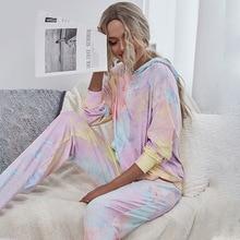 Tie-dye Print Pajama Sets Casual Nightwear Women Sets Autumn Long Sleeve Pocket Lady Sleepwear winte