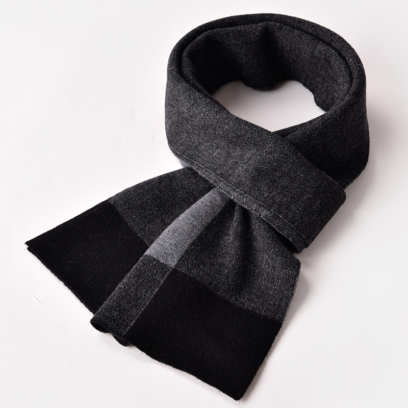 Winter 100% Lamb Wool Scarf Men Black Plaid Warm Echarpe Pure Wool Wraps Man's Pashmina Foulard Cashmere Scarves for Gentleman