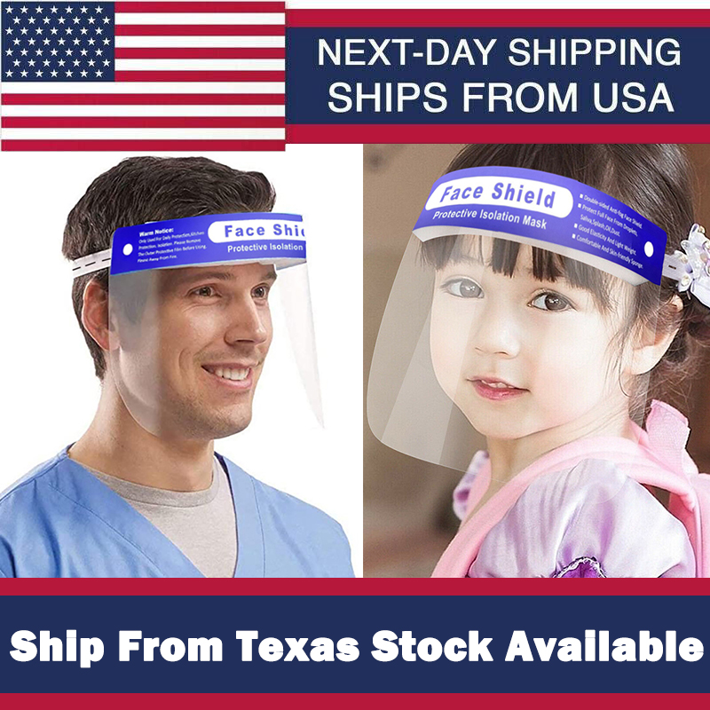 USA Kids&Adults Safety Full Face Sheild Plastic Clear Protector Industry Dental Protector Anti-Splash Ship From Texas Wholesale