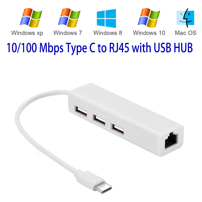 USB 3.1 Type C USB-C Rj45 Ethernet Network LAN Adapter Adaptador Multiple 3 Port Hub Cable For Macbook & Chromebook Laptop