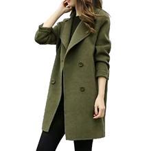 Женская осенне зимняя куртка пальто зеленая длинная повседневная
