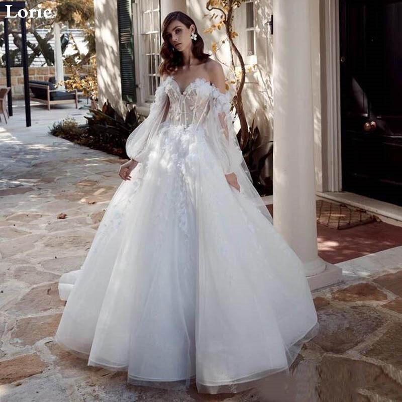 LORIE Sexy 2020 Lace Wedding Dress Puff Sleeve Sweetheart  Bridal Dress  Elegant 3D Flowers Robe De Soiree Wedding Ball Gowns