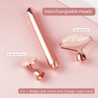 Electric Jade Roller For Face Eye Massage Rose Quartz Facial Rollers Vibrating Beauty Bar Skin Tightening Tool Waterproof 4