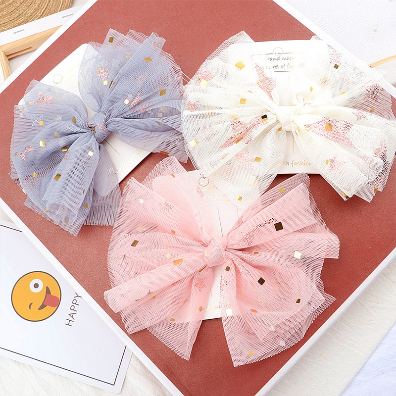 Gauze Bow Baby Hair Clips BB Princess Solid Knot Metal Baby Barrettes Hairpins For Girls Childern Kids Headwear Hair Accessories