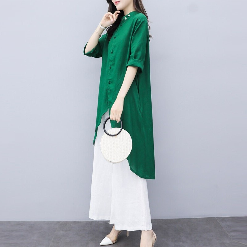 New women's two-piece panties in spring and summer large cotton hemp top wide leg pants casual fashion suit