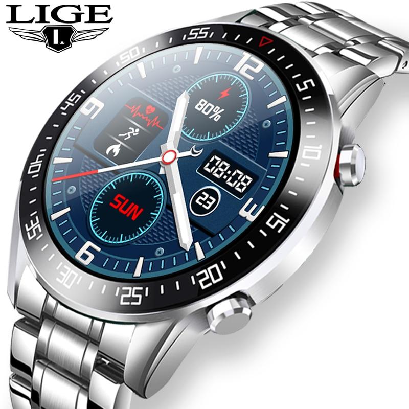 LIGE akıllı saat erkekler smartwatch tam dokunmatik ekran Android iOS kalp hızı kan basıncı monitörü su geçirmez spor İzle