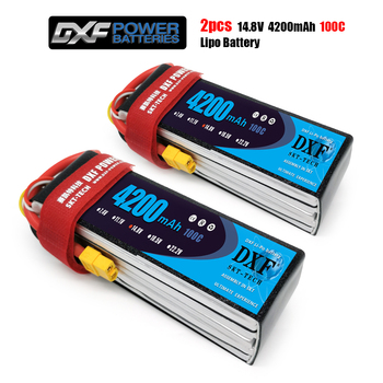 DXF lipo battery for RC Lipo Battery 14.8V 4S 4200MAH 100Cmax200C AKKU Bateria for Airplane Helicopter Boat FPV Drone UAV