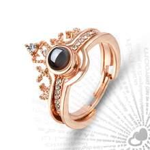 Luxo feminino conjunto de anel de casamento nupcial moda eu te amo 100 idiomas anel de projeção amor romântico amantes da memória anel de jóias