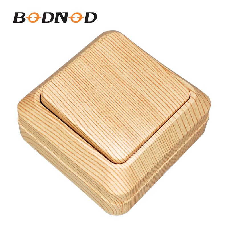 Light Switch One Gang Two Way Switch Wood Light Beech Inset Wall Switch DIY 10A 250V Legrand Schneider Livolo Surface Mounted(China)