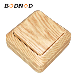 Light Switch One Gang Two Way Switch Wood Light Beech Inset Wall Switch DIY 10A 250V Legrand Schneider Livolo Surface Mounted