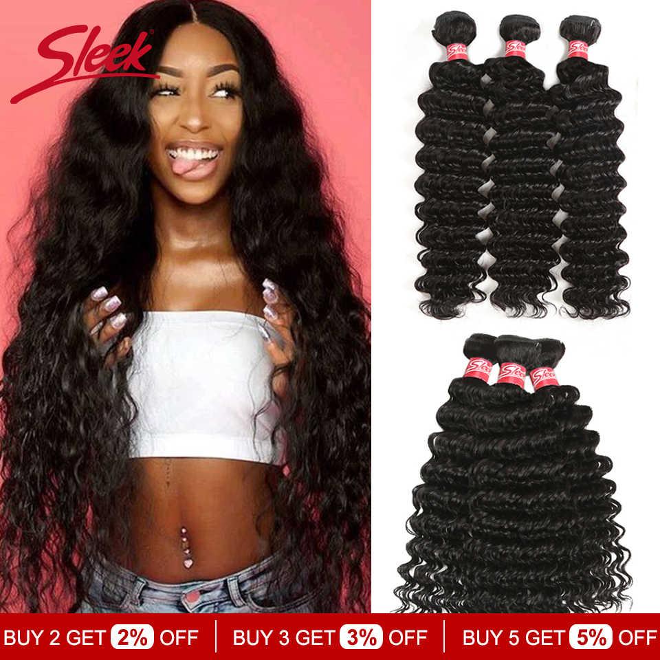 Sleek Braziliaanse Haar Weefsel Bundels 8 Om 28 30 Inch Bundels Diepe Golf Bundels Niet-Remy Human Hair Extension 3/4 Bundels Deal