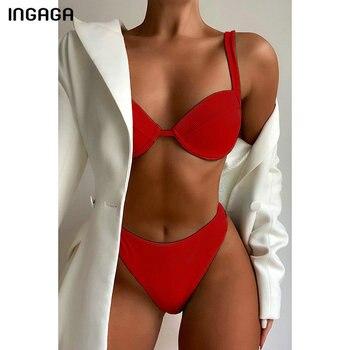 INGAGA High Waist Bikinis Women's Swimsuits Swimwear Push Up Bathing Suit 2021 Sexy Ribbed Beachwear High Leg Biquini Summer 2