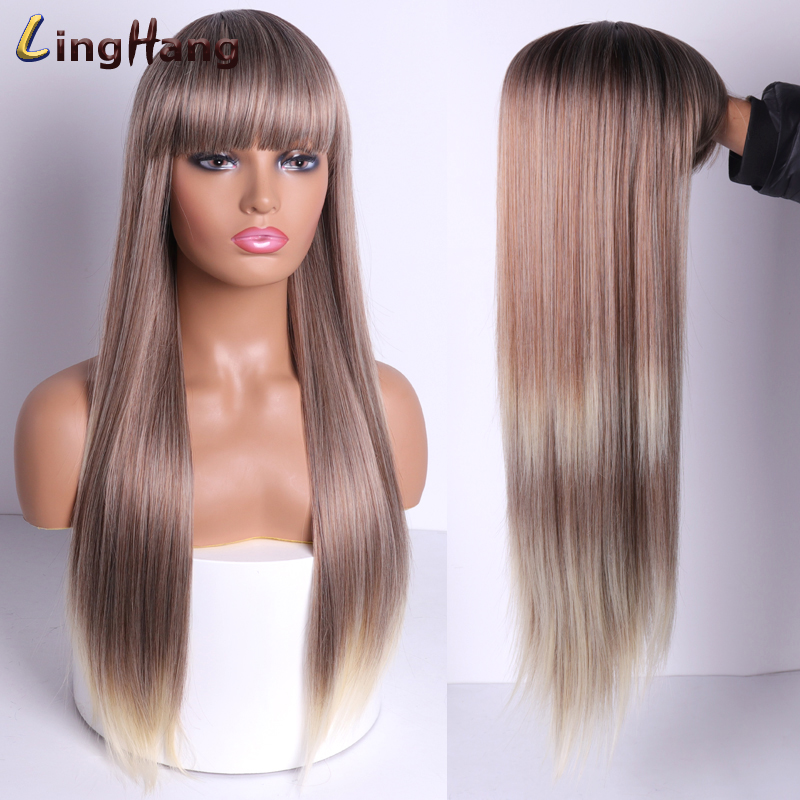 LINGHANG Black Long Straight Wig With Bangs Synthetic Hair Wigs For Women  Blonde 613 Red Heat Resistant Cosplay Wigs