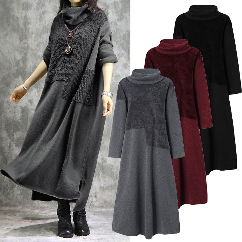 ZANZEA Women Turtleneck Long Sleeve Sweatshirts Dress Casual Plush Fluffy Patchwork Long Dress Autumn Vintage Vestido Sundress