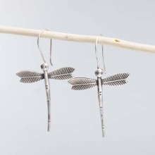 925 Sterling Silver Vintage Creative Dragonfly Big Earrings Long Silver Earrings For Women Thai Silver Jewelry