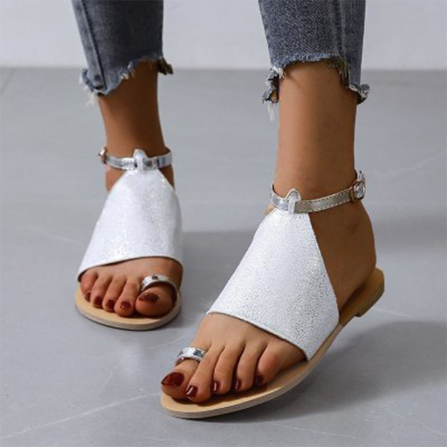 Sandalias de verano 2020, zapatos de mujer de talla grande 43, moda informal femenina, hebilla en el tobillo para zapatos, sandalias de mujer, calzado antideslizante para playa 4