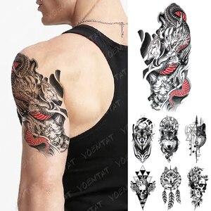 Waterproof Temporary Tattoo Sticker Japanese Dragon Prajna Flash Tattoos Wolf Totem Skull Body Art Arm Fake Tatoo Women Men