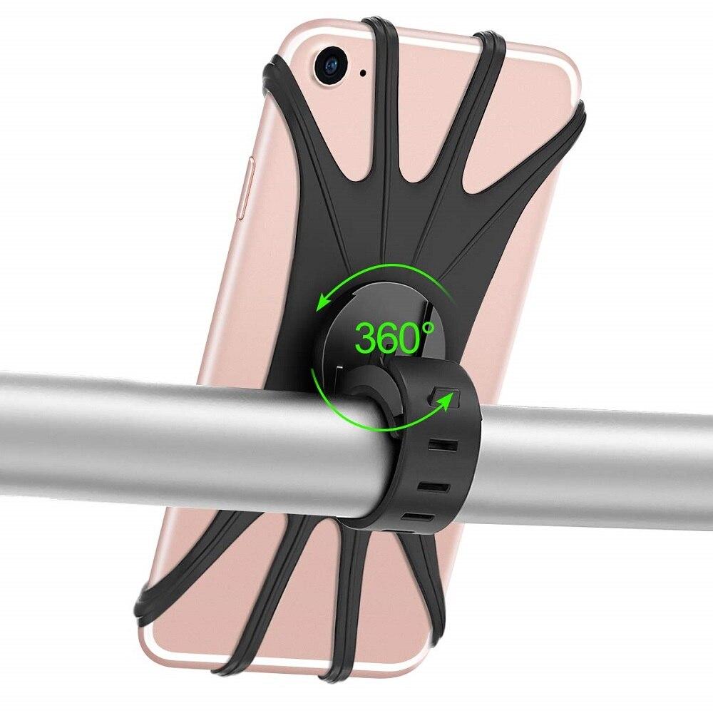 Suporte de telefone de bicicleta para iphone, suporte de silicone para celular iphone 11 pro max 6 7 8 plus x xr xs e montagem de celular clipe gps universal para bicicleta,