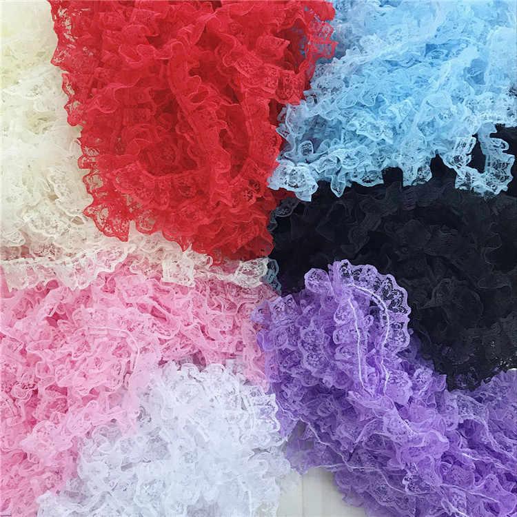 1M son gökyüzü mavi gül dantel kumaş 4.8cm çiçek şerit dantel kumaş dikiş yaka gipür tül dantel Trim encaje dentelle V5