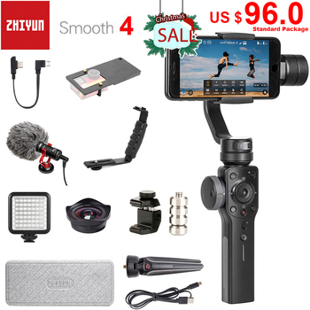 Zhiyun Smooth 4 3-Axis Handheld Smartphone Gimbal Stabilizer for iPhone 11 Pro XS XR X 8Plus 8 Samsung S10 S9 S8 & Action Camera fy feiyutech vimble 2 feiyu vimble2 handheld 3 axis extendable gimbal stabilizer for iphone 6 7 x vs zhiyun smooth q