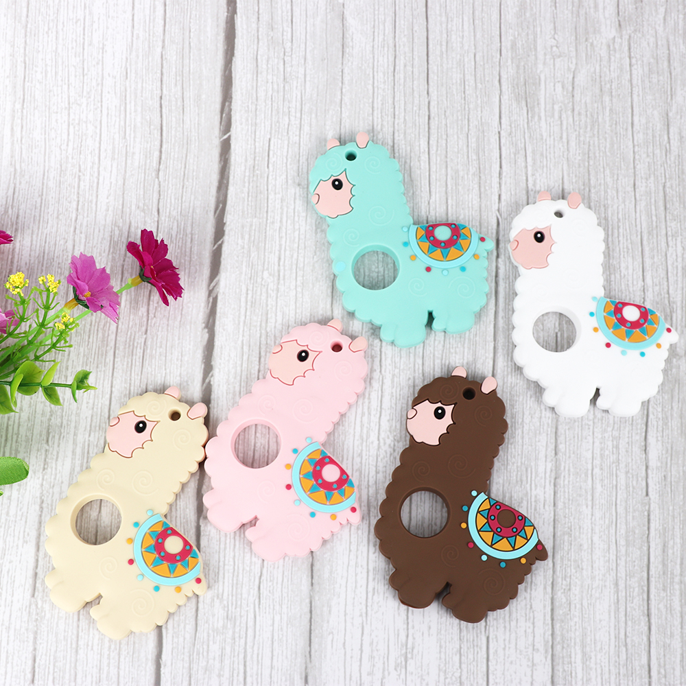 10pc Carton Sheep Silicone Teether Baby Teething Toys Chew Animal Rodent Pacifier Clips Pendant Baby Teethers