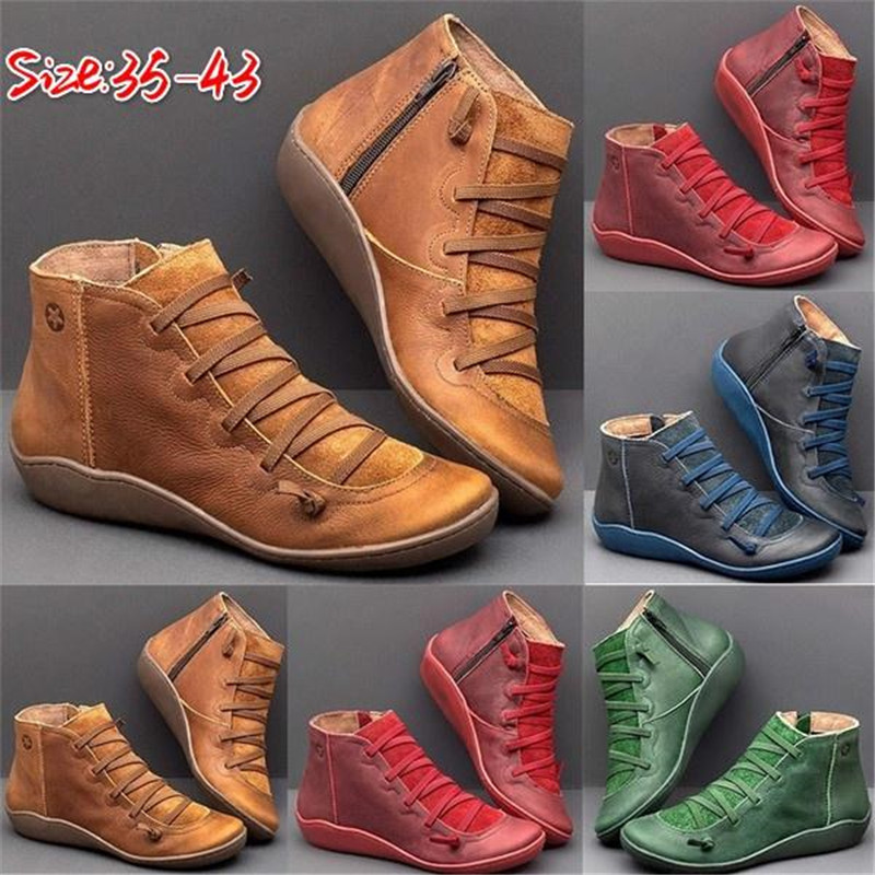 WEALTHY Women's PU Leather Ankle Boots Autumn Winter Cross Strappy Vintage Zipper Punk Boots Flat Short Snow Boots Lace Up Shoes