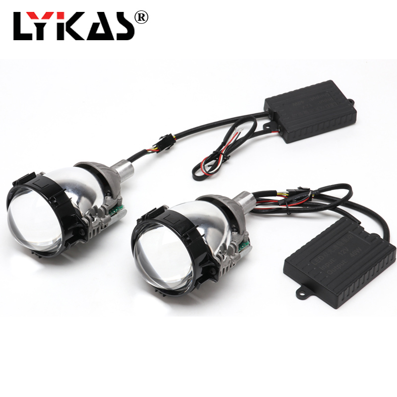 LYKAS 40W 3.0 Bi Led Projector Lens Universal Car Headlight Retrofit High Low Beam For H4 H7 H11 9005 9006