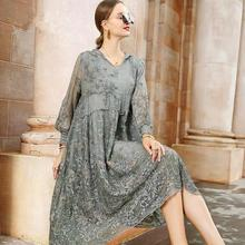 2020 New Summer Elegant Mesh Lace Embroider Women A Line Dre