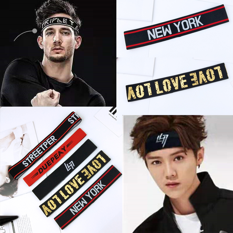 Cool Boy Hip-hop Headband Elastic Stretch Street Sports Head Bands Sport Sweatband Gym Yoga Hairbands Football Tennis Running